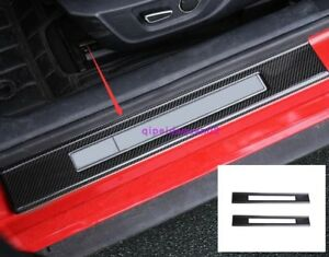 Carbon Fiber Style Welcome Pedal Door Sill Scuff Trim For Ford Mustang 2015 2018