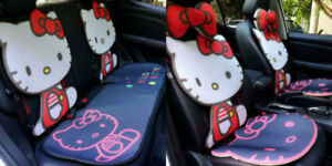 Hello Kitty Seat Cover Ice Silk Cute Red black Front Rear Seat Cover Full Set