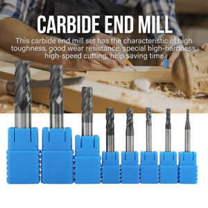 New 2 12mm 4 Flutes Carbide End Mill Set Tungsten Steel Milling Cutter Tool 8pcs