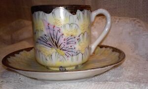 Delicate Japanese Porcelain Demitasse Saucer And Cup Flowers And Gold Trim
