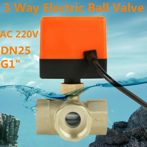 G1 Dn25 3 Way 3 Wire Ac 220v Motorized Ball Valve Brass Electrical Valve Water