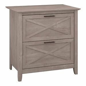 Bush Furniture Key West 2 Drawer Lateral File Cabinet In Washed Gray