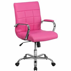 Flash Furniture Mid back Pink Vinyl Executive Swivel Chair With Chrome Base And