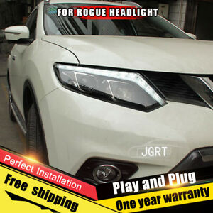 For Nissan Rogue Headlights Assembly Bi Xenon Lens Double Beam Hid Kit 2014 2016