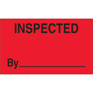 Tape Logic Labels inspected By 3 X 5 Fluorescent Red 500 roll Dl3281