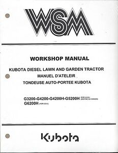 Kubota G3200 g4200 h g5200h g6200h Mower Workshop Service Manual 97897 11030