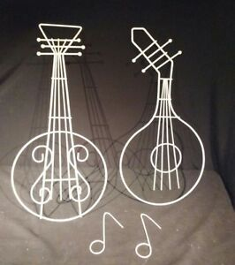 Vtg Guitar Lute Musical Instrument White Wire Wall Art Mid Century Modern Notes