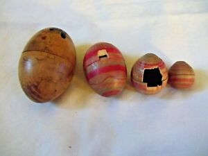 Antique Wooden Asian Nesting Eggs Hand Painted