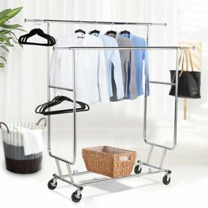 Topeakmart Commercial Grade Adjustable Double rail Clothing Hanging Rack On W