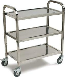 Stainless Steel 3 shelf Utility Service Storage Cart For Restaurant Catering