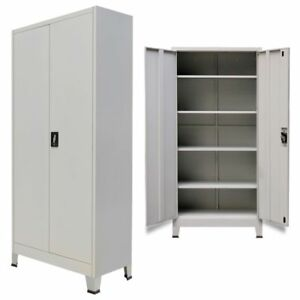 Locker Storage Cabinet Steel 2 Door Office School Gym Dress Changing Room Gray