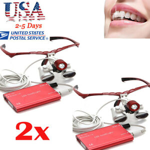 2 led Headlight Lamp 3 5x420mm Dental Loupes Surgical Medical Binocular Loupe Us