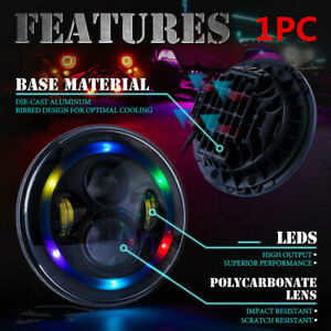 Led 7 Inch Headlight W Bluetooth Rgb Halo Lights For Jeep Wrangler Jk 97 17 1pc