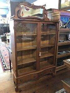 1900 S Quarter Sawn Tiger Oak Double Door Bookcase Original Wavy Glass Doors