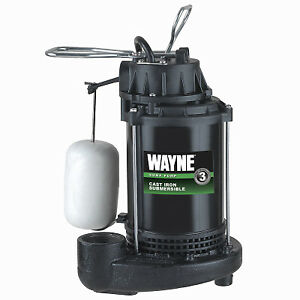 Submersible Sump Pump With Vertical Switch Cast Iron 1 3 hp Motor