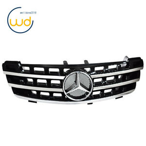3 Fin Front Hood Sport Black Chrome Grilles For Mercedes Ml Class W164 2005 08