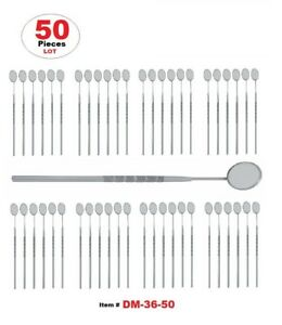 50 Pcs Dental Mouth Mirror 5 With Handle Dental Instruments