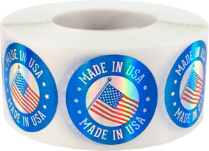 Made In Usa Labels Metallic 1 Inch Round Circle Dots 500 Adhesive Stickers