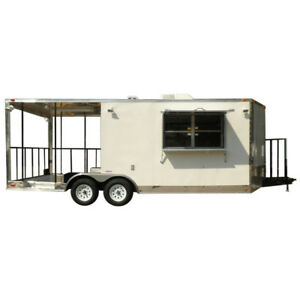 Concession Trailer 8 5 x20 White Bbq Smoker Food Concession