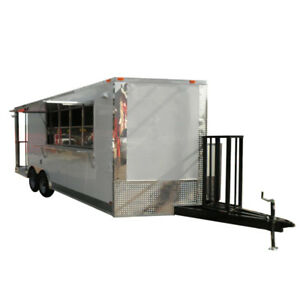 Concession Trailer 8 5 X 20 White Food Concession Event Bbq Smoker