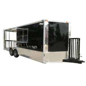 Concession Trailer 8 5 x20 Black Bbq Smoker Food Event Catering