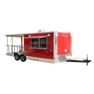 Concession Trailer 8 5 x20 Red Bbq Food Catering Event