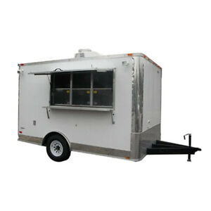 Concession Trailer 8 5 x12 White Food Bbq Event Catering