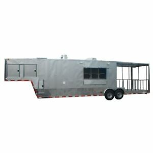 Concession Trailer 8 5 x38 Gooseneck Catering Bbq Event Food silver