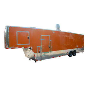 Concession Trailer 8 5 x34 Bbq Smoker Catering Food Event orange Restroom