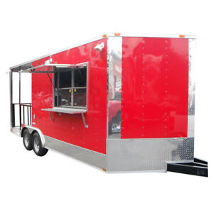 Concession Trailer 8 5 x20 Red Bbq Smoker Catering Food