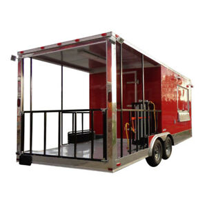 Concession Trailer 8 5 x20 Bbq Smoker Catering Event red