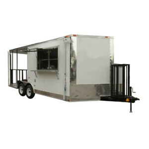 Concession Trailer 8 5 x18 Catering Bbq Smoker Event white