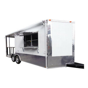Concession Trailer 8 5 x20 White Food Event Catering Bbq Smoker