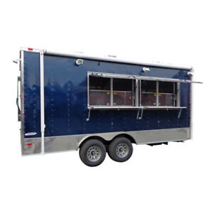 Concession Trailer 8 5 x18 Blue Catering Food Custom Vending