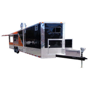 Concession Trailer 8 5 x30 Event Bbq Smoker Catering black Orange Restroom