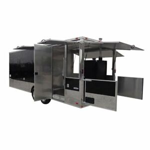 Concession Trailer 8 5 X 24 Black Event Food Catering Custom Enclosed Kitchen