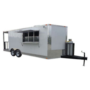 Concession Trailer 8 5 x 20 White Bbq Vending Event Catering