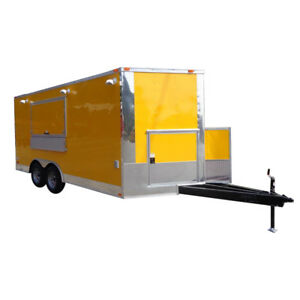 Concession 8 5 x16 Trailer Yellow Enclosed Event Food Catering