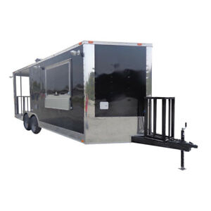 Concession Trailer 8 5 x20 Black Bbq Smoker Enclosed Food Kitchen