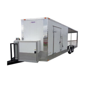 Concession Trailer 8 5 x24 White Custom Bbq Enclosed Kitchen