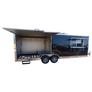 Concession Trailer 8 5 x24 Black Custom Smoker Enclosed Food Catering