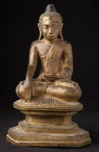 Early 19th Century Antique Bronze Burmese Buddha Statue From Burma