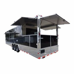 Concession Trailer Gooseneck Black 8 5 X 45 Bbq Smoker Event Catering Restroom
