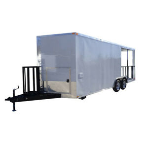 Concession Trailer White 8 5 X 20 Bbq Smoker Event Catering Trailer