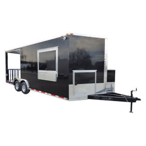 Concession Trailer Black 8 5 X 20 Bbq Smoker Food Catering