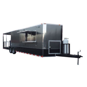 Concession Trailer 8 5 x28 Charcoal Gray Bbq Smoker Event Catering