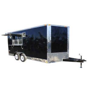 Concession Trailer 8 5 x16 Black Food Event Catering Bbq