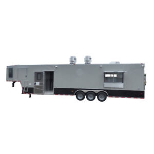 Concession Trailer 8 5 X 40 Gray Gooseneck Food Event Catering