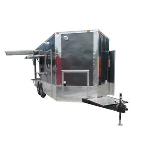 Concession Trailer 8 5 X 18 Charcoal Grey Pizza Event Catering
