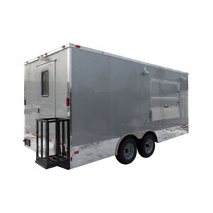 8 5 X 18 Concession Food Trailer Silver Event Catering